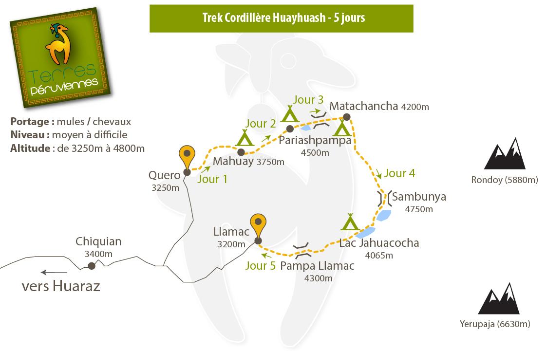Carte trek Cordillère Huayhuash