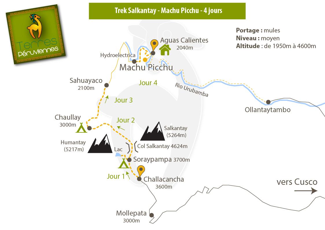Carte trek Salkantay Machu Picchu